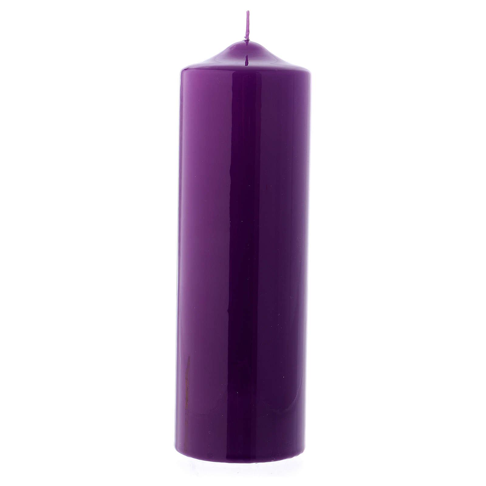 Bougie liturgique cire brillante Ceralacca 24x8 cm violet 3