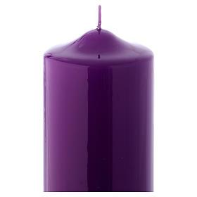 Bougie liturgique cire brillante Ceralacca 24x8 cm violet s2