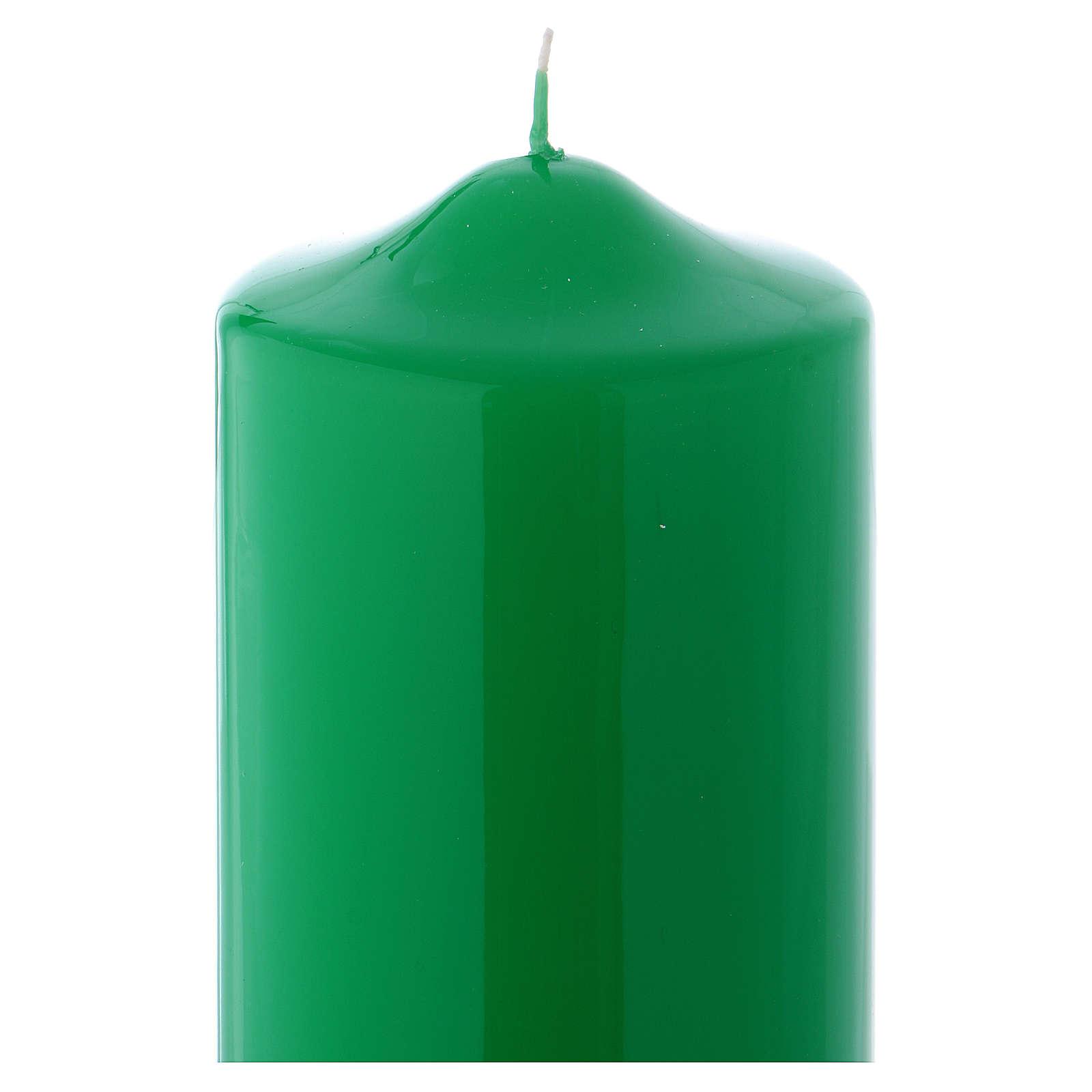 Bougie liturgique cire brillante Ceralacca 24x8 cm vert 3