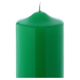 Bougie liturgique cire brillante Ceralacca 24x8 cm vert s2