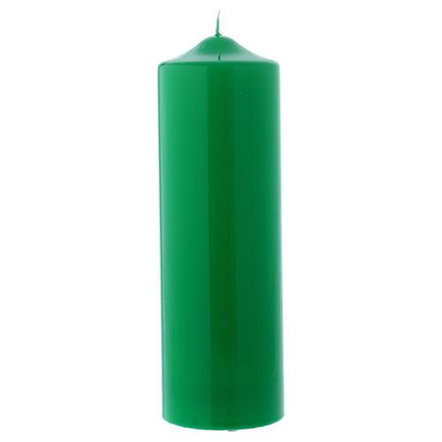 Bougie liturgique cire brillante Ceralacca 24x8 cm vert 1