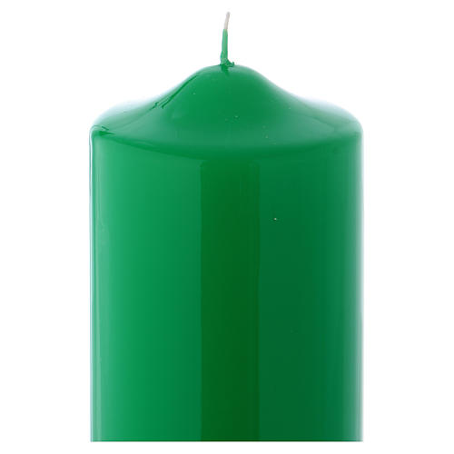 Bougie liturgique cire brillante Ceralacca 24x8 cm vert 2