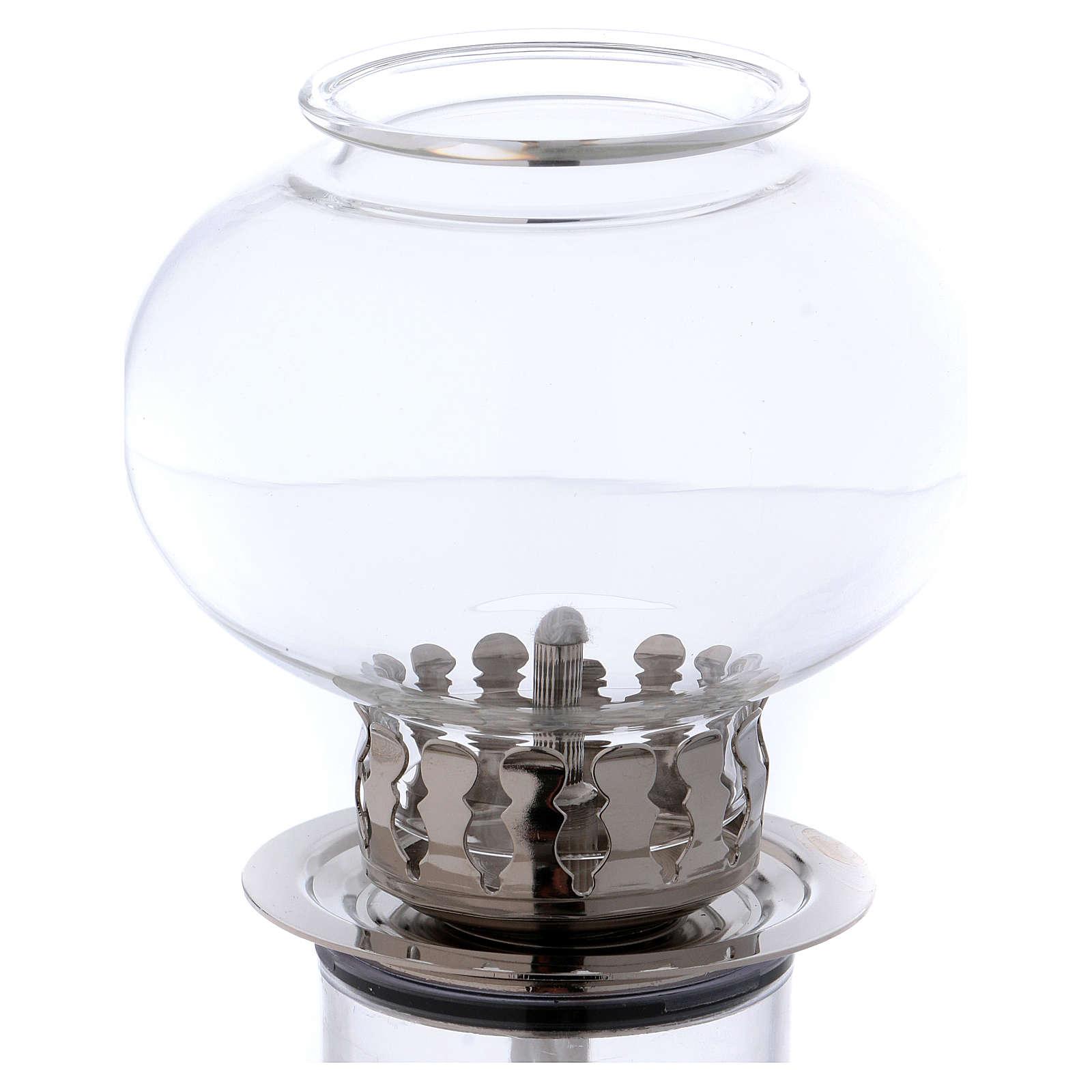 Torcia antivento 30 cm vetro e metallo argentato cera liquida 3