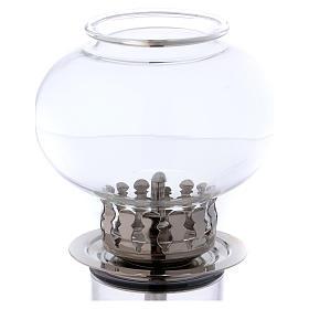 Torcia antivento 30 cm vetro e metallo argentato cera liquida s2