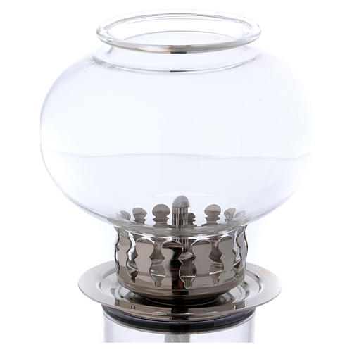 Torcia antivento 30 cm vetro e metallo argentato cera liquida 2