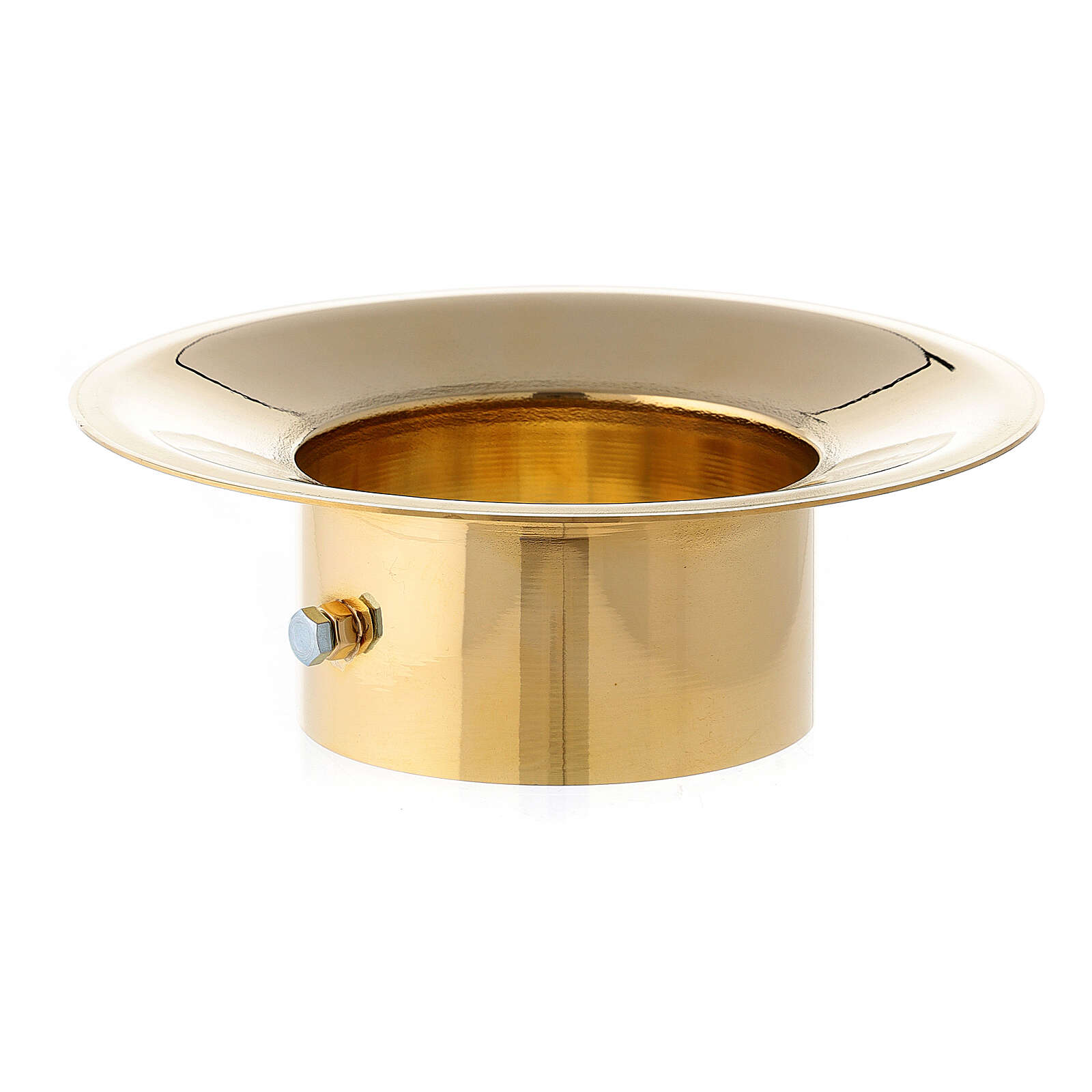 Wax collector in polished brass for Paschal candle 3 in diameter 3