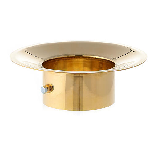 Wax collector in polished brass for Paschal candle 3 in diameter 1