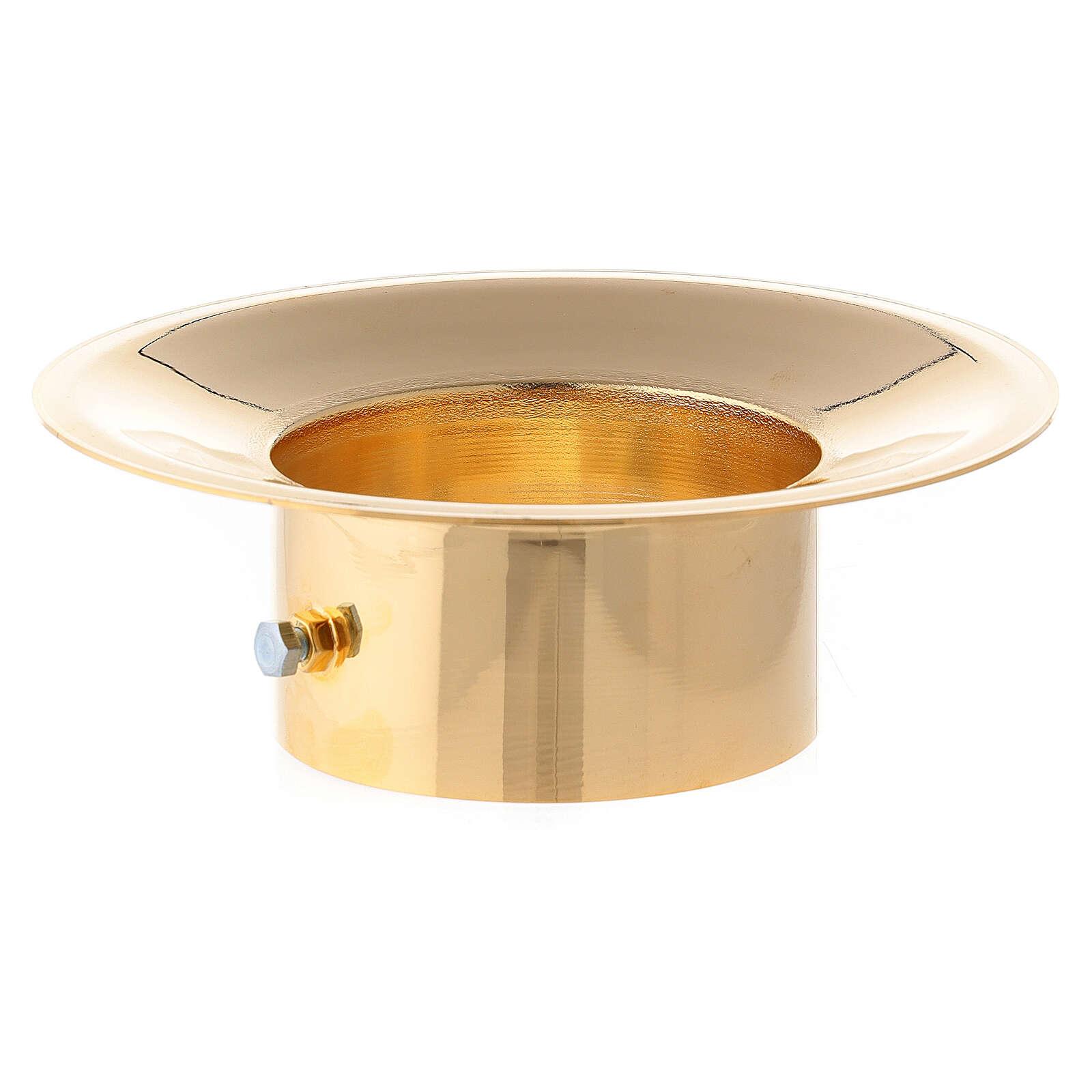 Bobèche en laiton brillant pour cierges diam. 8 cm 3