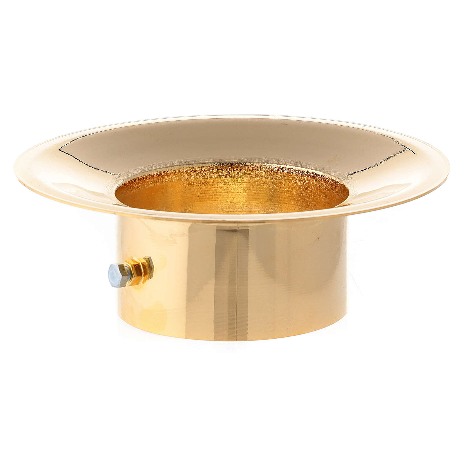Wax collector in polished gold plated brass for Paschal candle 3 in diameter 3