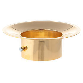 Wax collector in polished gold plated brass for Paschal candle 3 in diameter s1