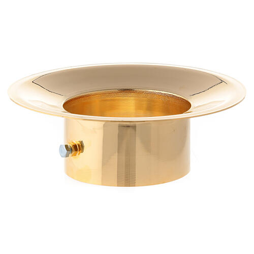 Wax collector in polished gold plated brass for Paschal candle 3 in diameter 1