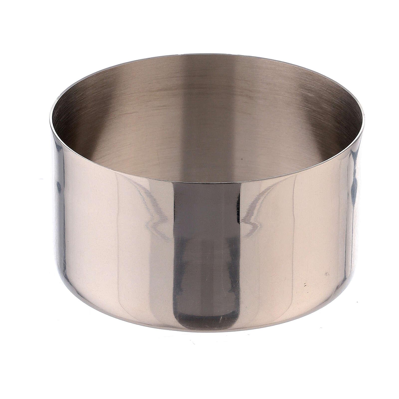 Anello candele 7 cm ottone argentato lucido 4