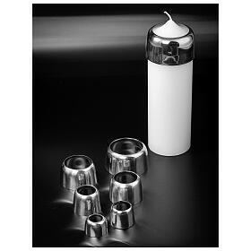 Anello candele 7 cm ottone argentato lucido s3