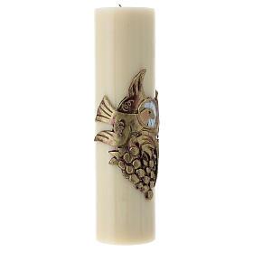 Cierge d'autel colombe raisin doré cire d'abeille 300x80 mm s3