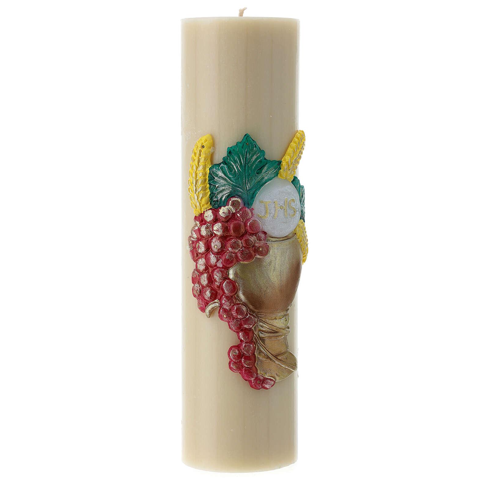 Bougie d'autel cire d'abeille calice raisin 300x80 mm 3