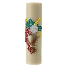 Bougie d'autel cire d'abeille calice raisin 300x80 mm s1