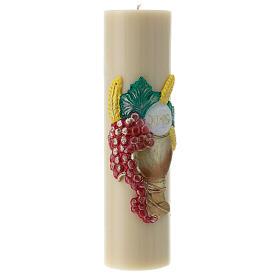 Bougie d'autel cire d'abeille calice raisin 300x80 mm s3