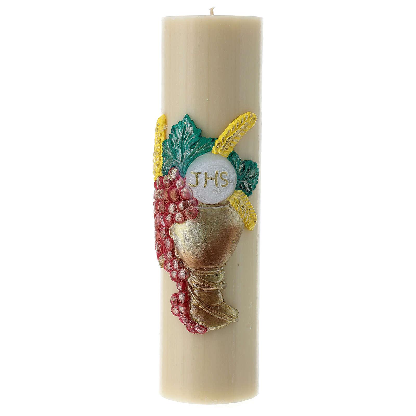 Candela da altare cera d'api calice uva 300x80 mm 3
