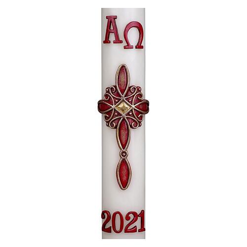Osterkerze, 10% Bienenwachsanteil, mit Kreuz und roten Ornamenten, 60x8 cm