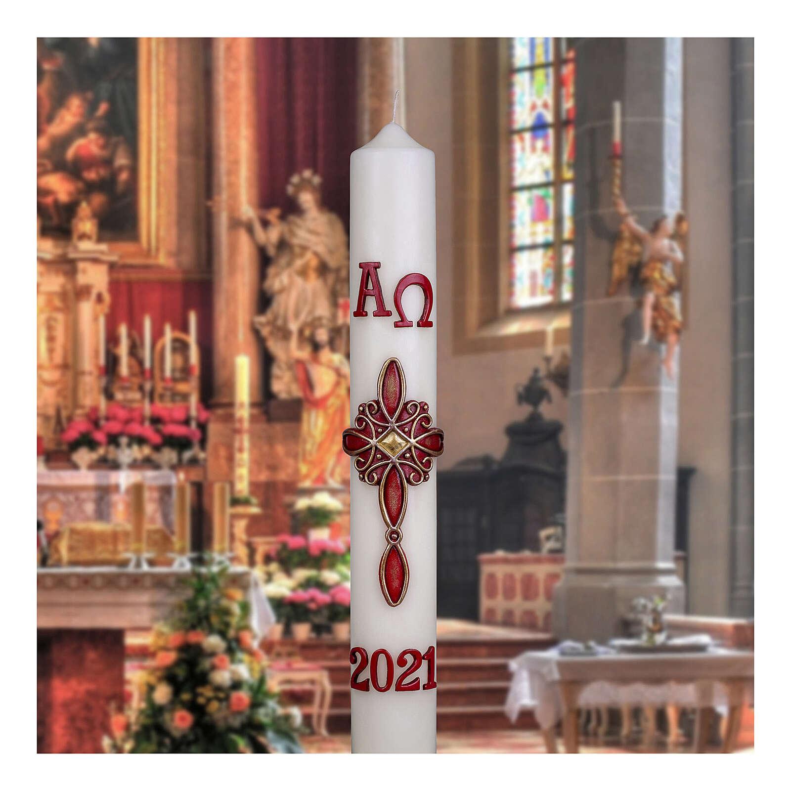 Cierge pascal croix rouge décorée 60x8 cm cire d'abeille 3