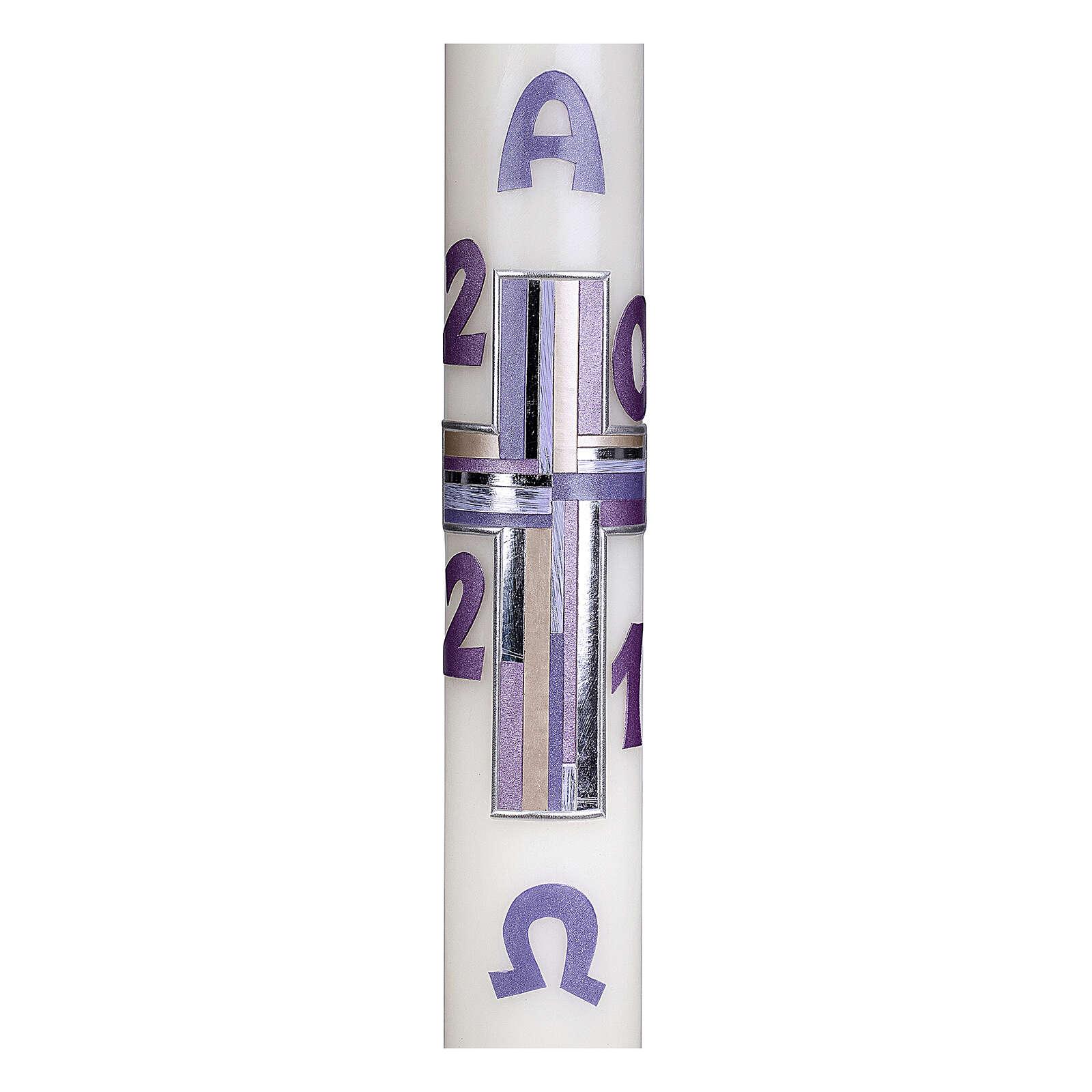 Cierge pascal croix lilas 10% cire d'abeille 60x8 cm 3
