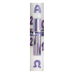 Cierge pascal croix lilas 10% cire d'abeille 60x8 cm s2