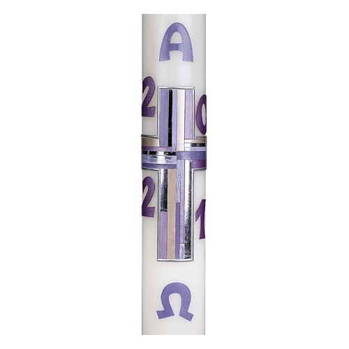 Cierge pascal croix lilas 10% cire d'abeille 60x8 cm 2
