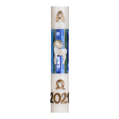 Osterkerze, 10% Bienenwachsanteil, mit Lamm und blauen Details, 80x8 cm