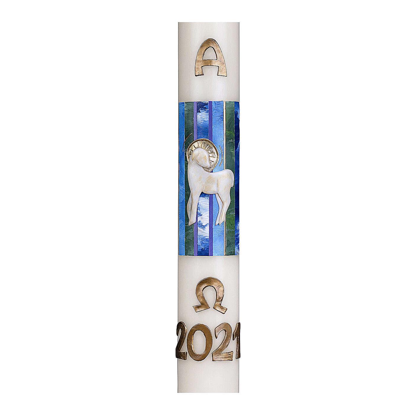 Cierge pascal Agneau fond bleu 80x8 cm cire d'abeille 3