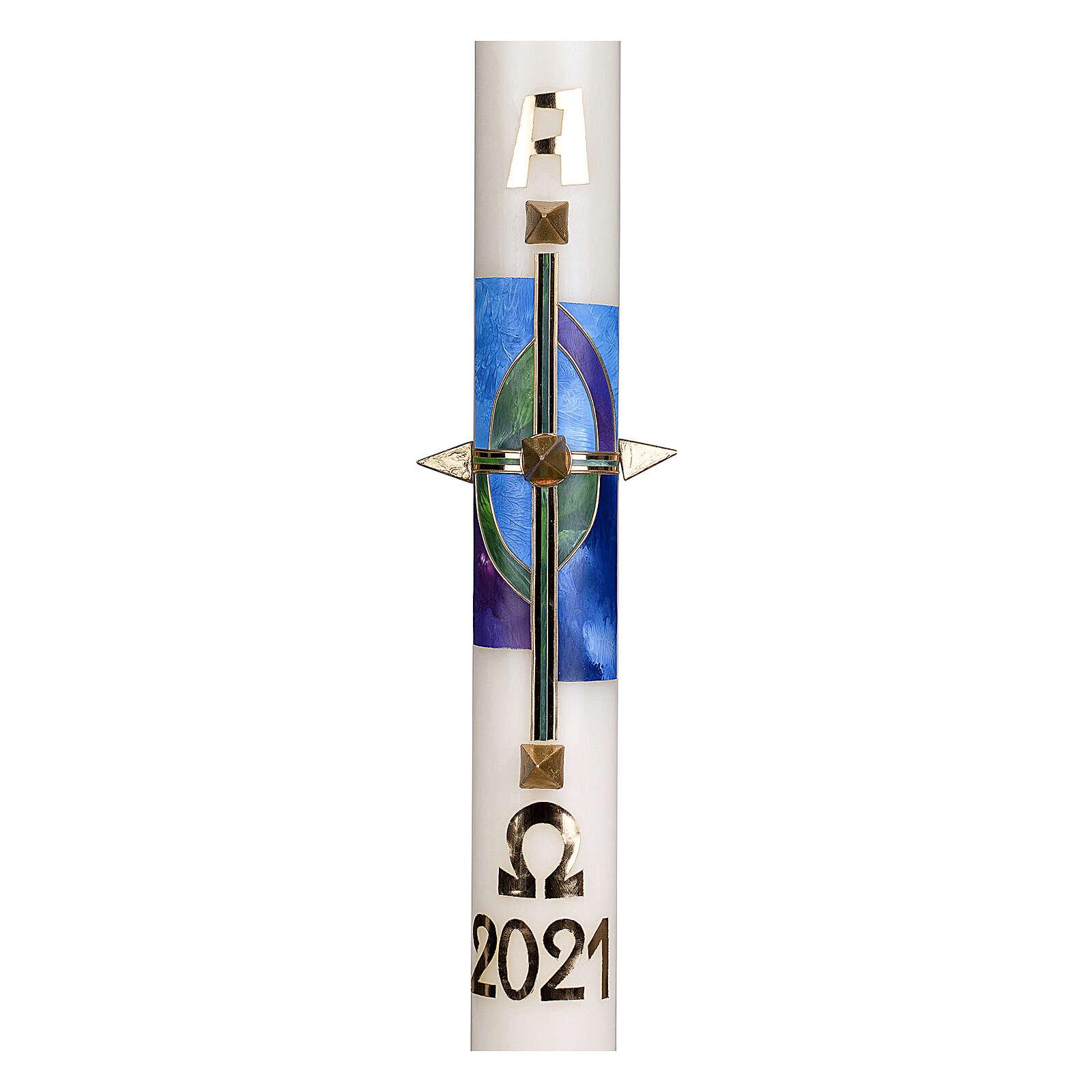 Cierge pascal croix verte bleue clous or 80x8 cm cire d'abeille 3