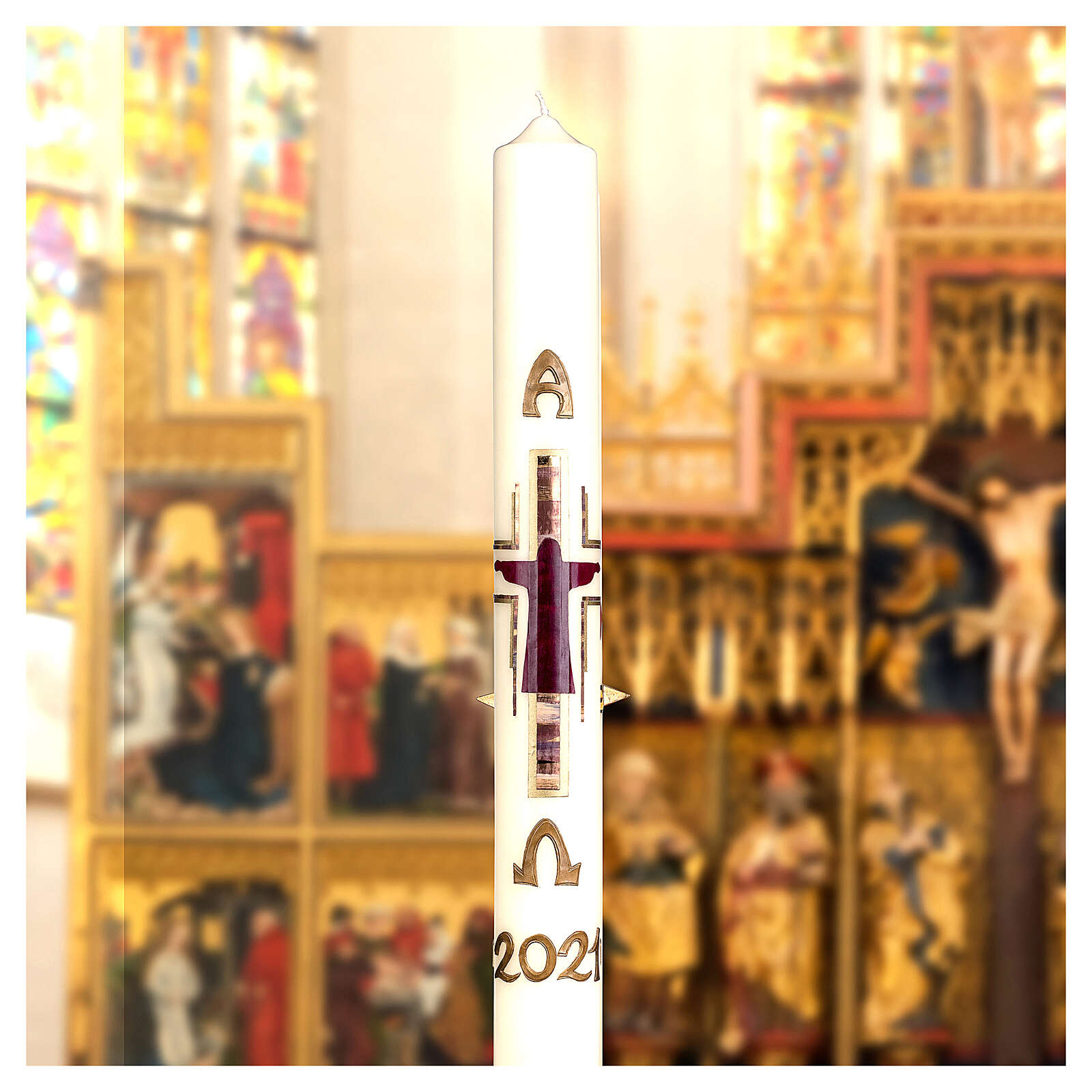 Cierge pascal Crucifixion stylisée violet or or 80x8 cm cire d'abeille 3