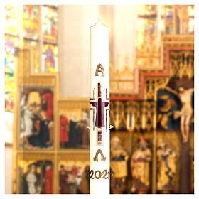 Cierge pascal Crucifixion stylisée violet or or 80x8 cm cire d'abeille s3