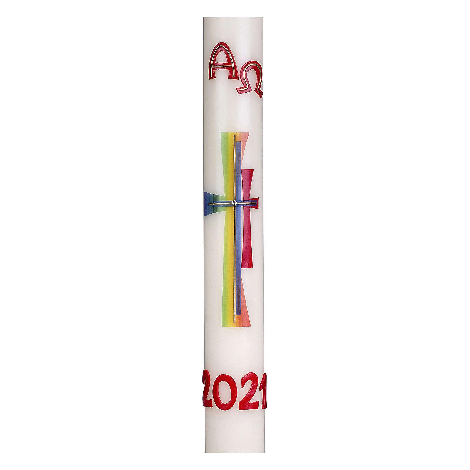 Cierge pascal croix moderne colorée 80x8 cm cire d'abeille 3