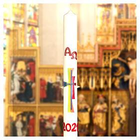Cierge pascal croix moderne colorée 80x8 cm cire d'abeille s3
