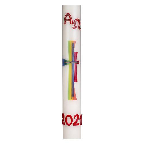 Cierge pascal croix moderne colorée 80x8 cm cire d'abeille 2