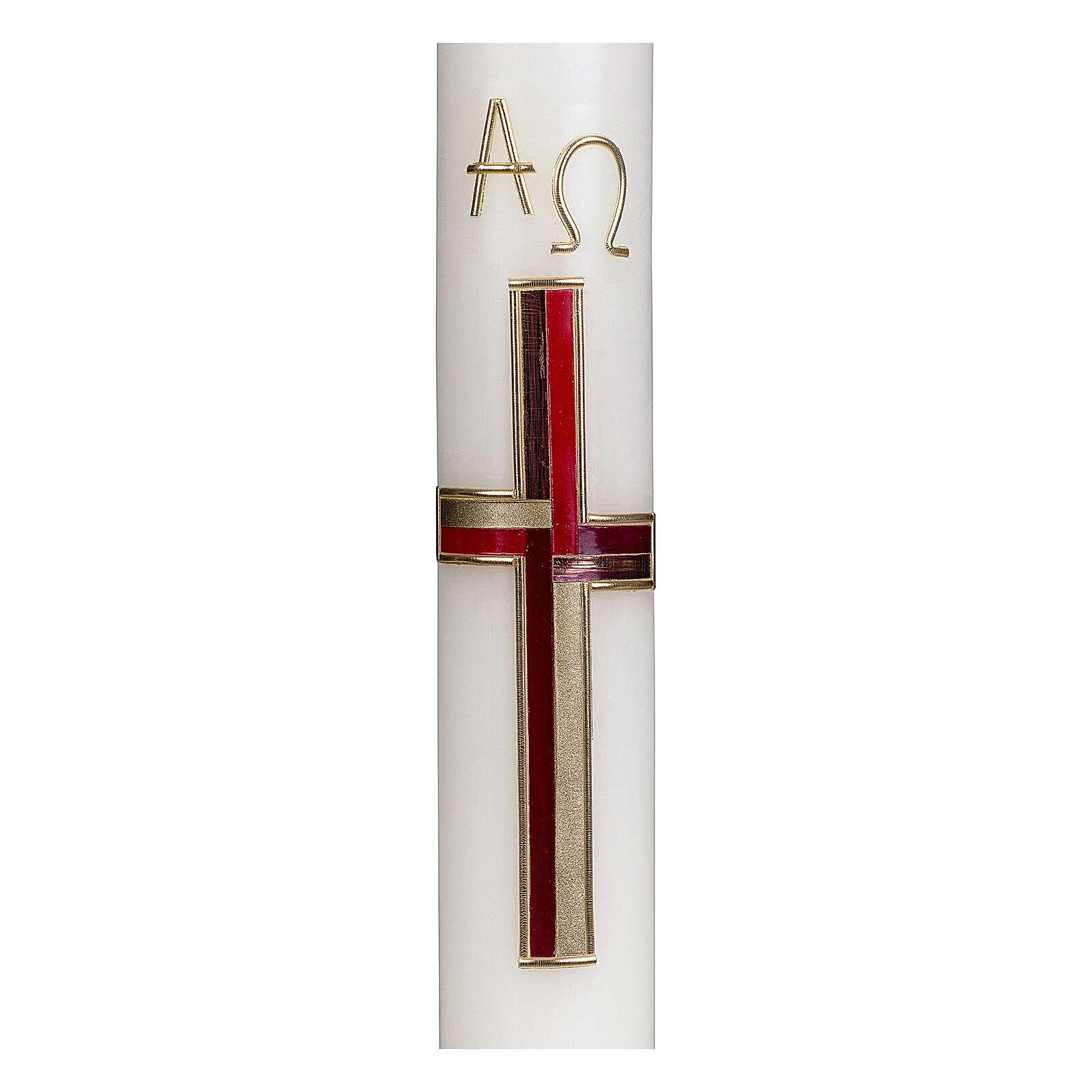 Bougie pascale croix rouge or 40x6 cm cire abeille 3