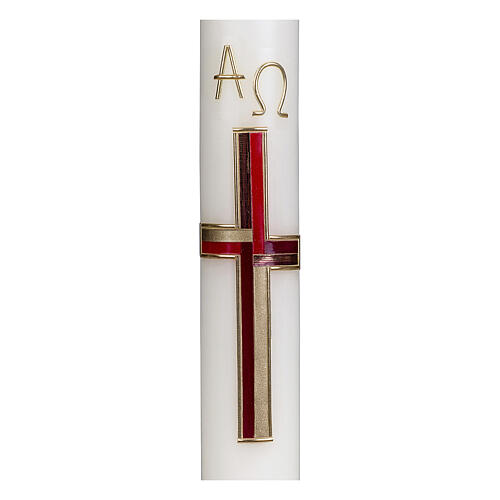 Bougie pascale croix rouge or 40x6 cm cire abeille 2