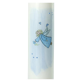 Vela dibujo ángel azul Bautismo 265x60 mm