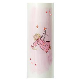 Vela ángel rosa dibujado Bautismo 265x60 mm