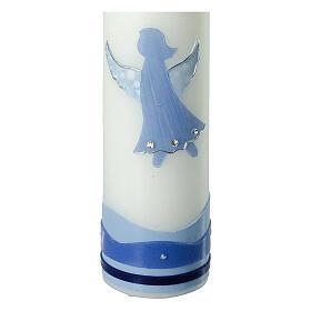 Vela ángel azul cuenta strass Bautismo 265x60 mm
