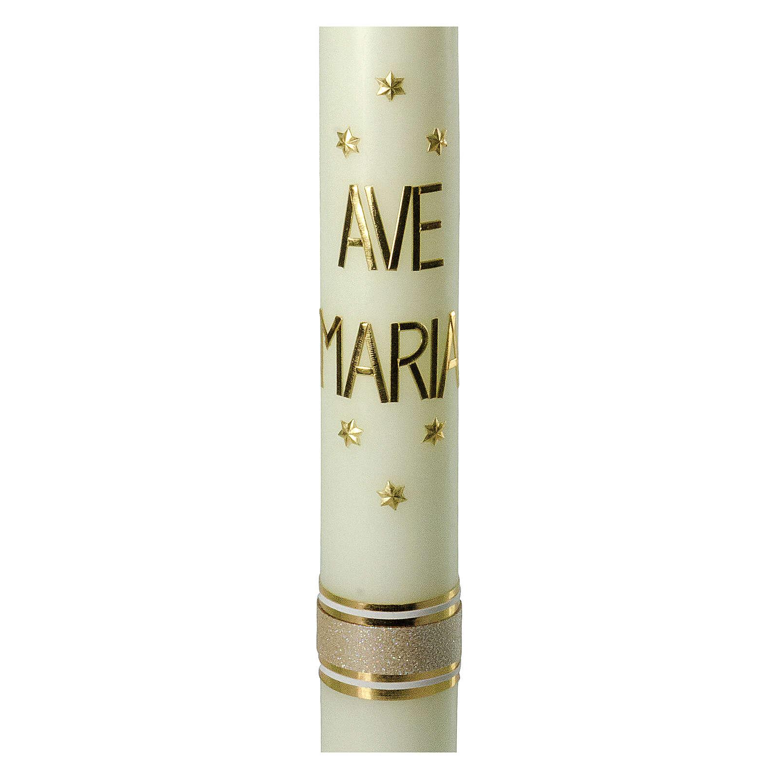 Kerze Ave Maria mit goldenen Sternen, 600x60 mm 3
