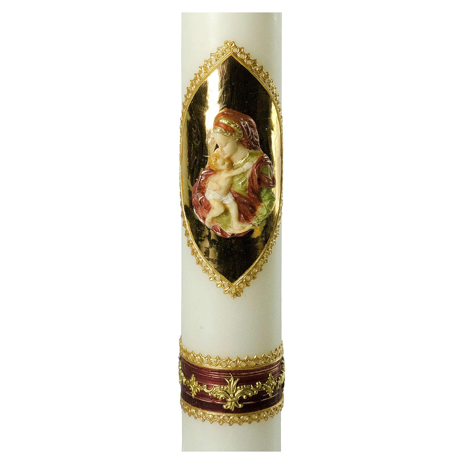 Kerze mit Maria und dem Jesuskind mit goldenen Details, 500x70 mm 3