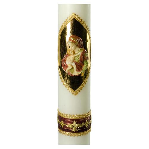 Kerze mit Maria und dem Jesuskind mit goldenen Details, 500x70 mm 2