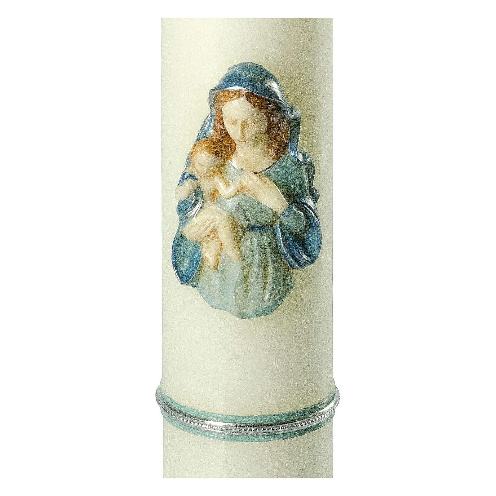 Kerze mit Maria und dem Jesuskind mit blauen Details, 400x80 mm 3