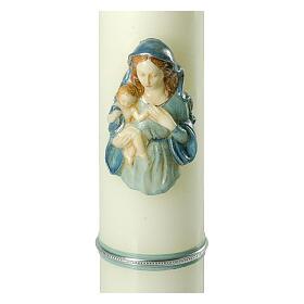 Kerze mit Maria und dem Jesuskind mit blauen Details, 400x80 mm s2