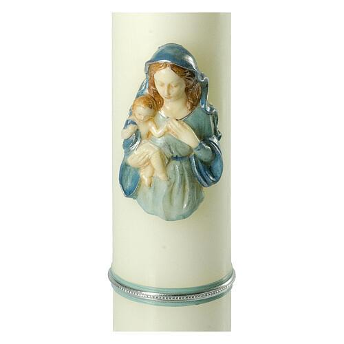 Kerze mit Maria und dem Jesuskind mit blauen Details, 400x80 mm 2