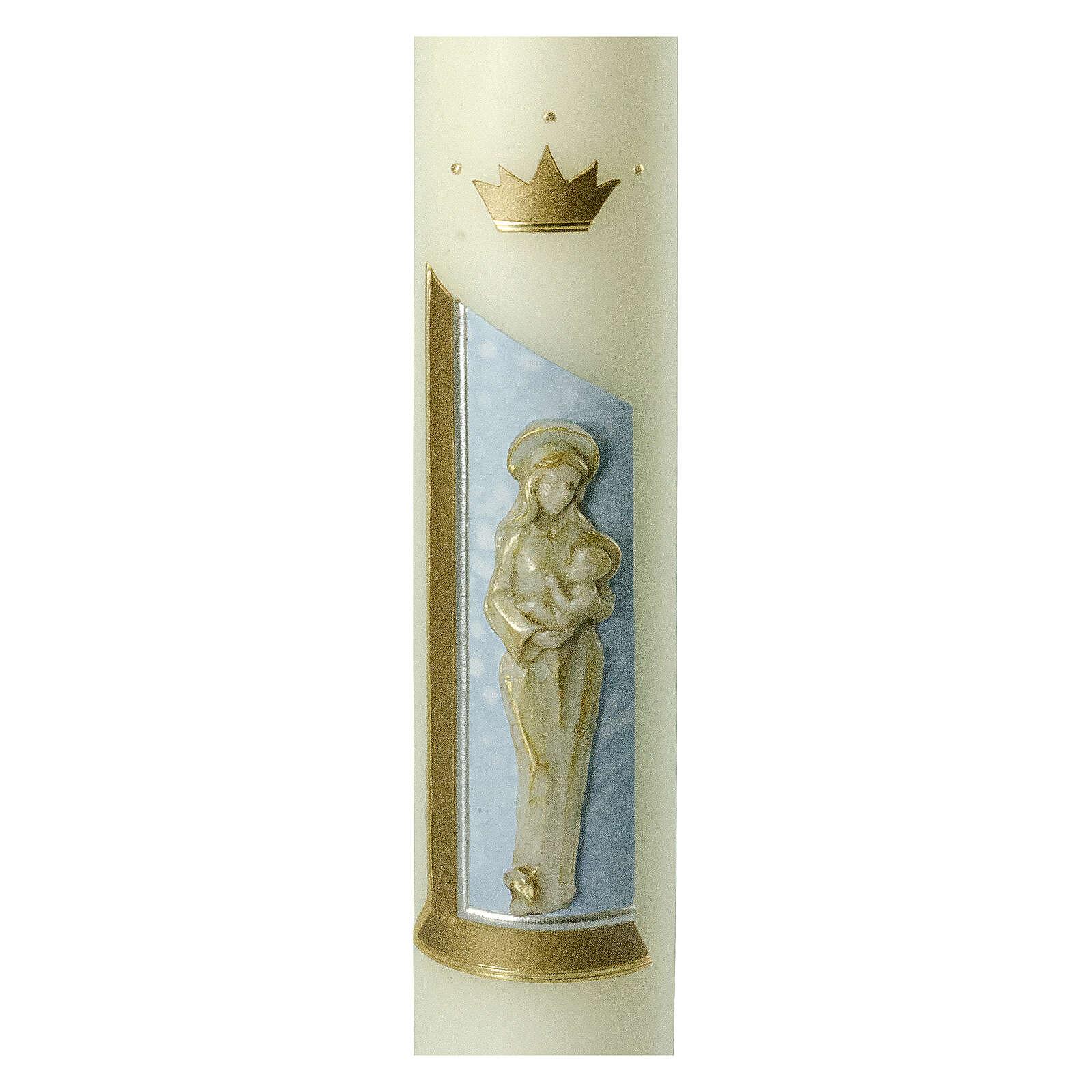 Kerze mit Maria und dem Jesuskind mit goldenen Details, 400x60 mm 3