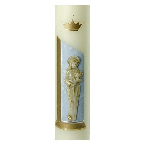 Kerze mit Maria und dem Jesuskind mit goldenen Details, 400x60 mm 2