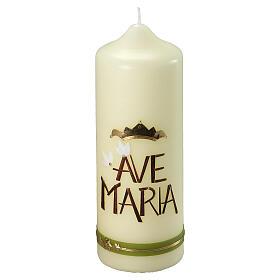Kerze Ave Maria grüne und goldene Details, 230x80 mm s1