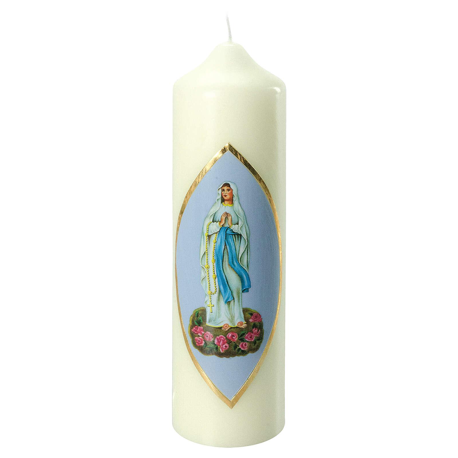 Kerze Unsere Liebe Frau in Lourdes himmelblauer Hintergrund, 220x60 mm 3